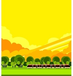 Train travel the countryside vector