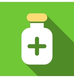 Medication vial flat long shadow square icon vector