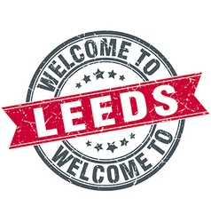 Welcome to leeds red round vintage stamp vector