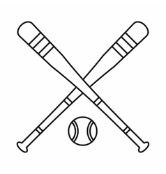 Baseball bat and ball icon outline style vector