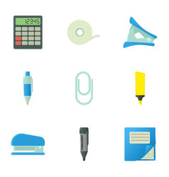 Accountant things icons set cartoon style vector