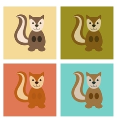 assembly flat icons nature cartoon squirrel vector image