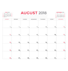 august 2018 calendar planner design template week vector image