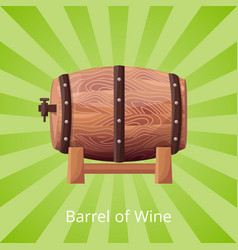 Barrel of wine icon on green vector