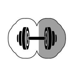 Black figure weight gym tool icon vector