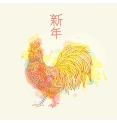 Cock on watrcolor background vector