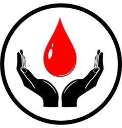 Drop in hands icon vector