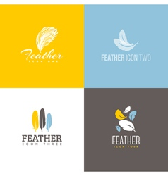Feather icon set of logo design templates vector