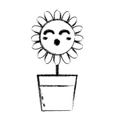 Figure kawaii beauty and funny flower plant vector