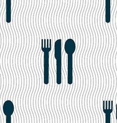 fork knife spoon icon sign Seamless pattern with vector image