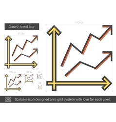 Growth trend line icon vector