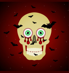 halloween blood eyeball skull flying bat vector image vector image