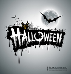 Happy Halloween text design vector image