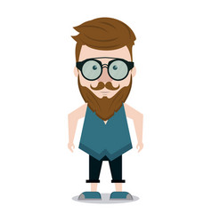 hipster man cartoon vector image