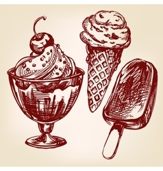Ice cream set hand drawn llustration vector image vector image