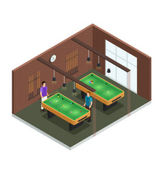 Isometric game club interior composition vector