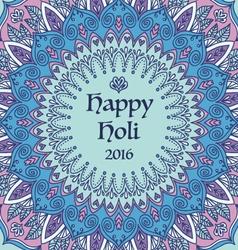 Mandala happy holi card vector