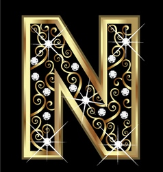 N gold letter with swirly ornaments vector image vector image