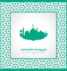 Ramadan festival greeting with mosque and pattern vector