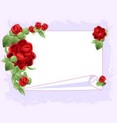 Red graphic rose frame white sheet of paper vector