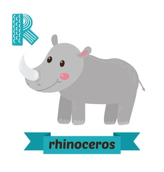 Rhinoceros r letter cute children animal alphabet vector
