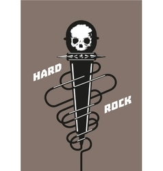 Rock microphone with a skull Music poster vector image