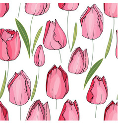 Seamless floral decorative pattern with tulips vector