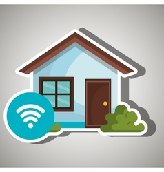 Smart home with wifi zone isolated icon design vector