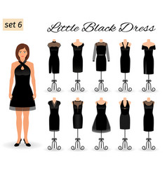 Stylish woman model character in little black vector