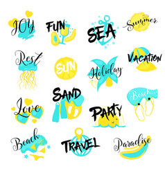 summer vacations hand drawn logo set sea holidays vector image