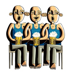 Three drinking hairless men sitting on a wooden vector