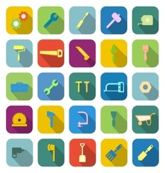 Tool color icons with long shadow vector