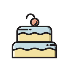 Two layered birthday cake icon with cherry on top vector