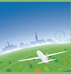 Vienna skyline flight destination vector