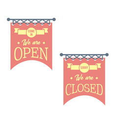 vintage open and closed business signs red vector image