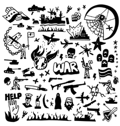 war - doodles set vector image