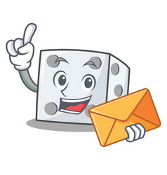 With envelope dice character cartoon style vector
