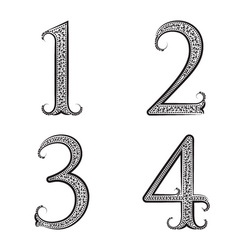 One two three four vintage patterned numbers Font vector image