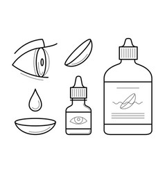 Eye contact lenses elements vector