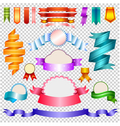 corners and ribbons isolated on transparent vector image