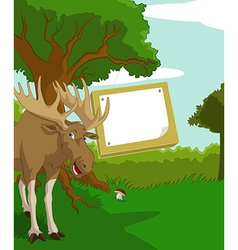 Wood plate with elk vector