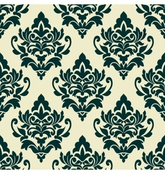 Floral green damask seamless pattern vector
