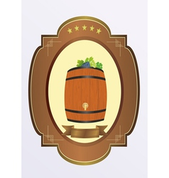 Small cask with wine vector