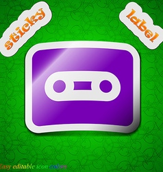Cassette icon sign symbol chic colored sticky vector