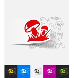 Mushrooms paper sticker with hand drawn elements vector