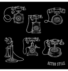 Vintage rotary dial telephone sketch icons vector