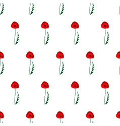 Pattern with poppies on the white backdrop vector