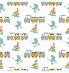 Seamless baby pattern many small locomotives on vector