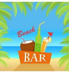 Beach bar concept summer drinks vector