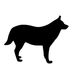 Black silhouette of dog on white background of vector